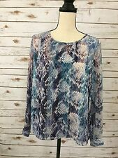 Women's Jennifer Lopez Top.  LS with buttons, Blue shades, Pleated Back  (wA )