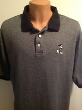 Disney World Polo With Embroidered Mickey Mouse, 100% Cotton, Black Gray, XL
