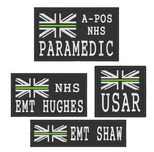 EMBROIDERED  CHOICE OF THIN GREEN LINE NHS PATCHES WITH CUSTOM OPTIONS