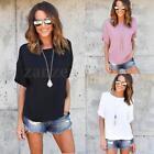 Zanzea AU 8-24 Women Loose Short Sleeve Casual Solid T Shirt Tee Blouse Tops NEW
