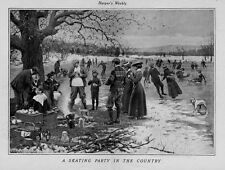 SKATING PARTY IN THE COUNTRY BY A. B. FROST ICE SKATES PICNIC BASKET DRINKS FIRE