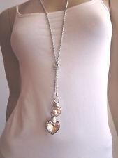 Modekette Damen Hals Kette Bettel lang Modeschmuck 2 x Strass Herz Silber Klar