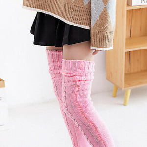 Womens Warm Knitted Socks Over Knee Long Thigh High Boot Soft Woolen Stockings