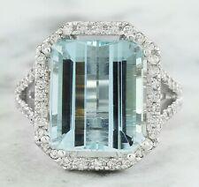10.30 Carat Genuine Aquamarine 14K Solid White Gold Luxury Diamond Ring