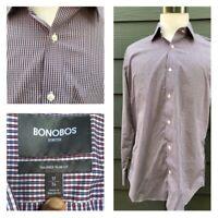 Bonobos Stretch Tailored Slim Fit Men Multi Colored Micro Check Shirt Size 17/34