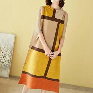 2021 new ISSEY MIYAKE PLEATS PLEASE half sleeve long dress