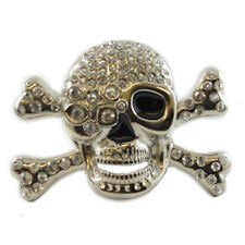 BLING SKULL CROSSBONES BELT BUCKLE PIRATE BOOTY CRYSTAL ROCK FIT SNAP BELT
