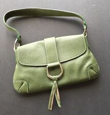 GREEN LEATHER CLUTCH SHOULDER BAG PURSE FRINGE MADE IN ITALY NEW