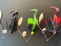 3x 1/2oz Murray Cod Spinnerbaits 14g Blade Spinner Bait Lures Bass Yella Perch 1
