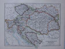 1901 Viktorianisch Map Austro Hungarian Monarchy Tyrol Bosnien Galicien Bohème