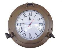 "Antique Brass Decorative Ship Porthole Clock 12""- Nautical Clock- Brass Clocks"
