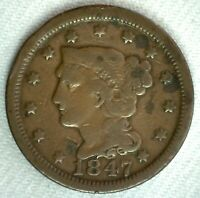 1847 Braided Hair US Large Cent Coin 1c US Coin VG Very Good Circulated Penny