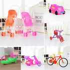 Dollhouse Miniature Furniture Plastic Stroller Bike Car For Barbie Toys 6 Styles