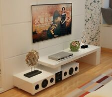 White High Gloss TV Stand with Built-In Bluetooth Speaker for TV up to 70 inches