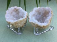 Natural Geode Pair Stand Open Geodes Crystal Quartz Druze Specimen Morocco Geode