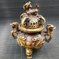 Chinese Antique Brass Engraving Dragon Incense Burner Xuande Year