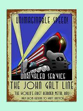 Stile retrò vintage, John Galt treno poster immagine Metallo Segno Muro Porta Placca