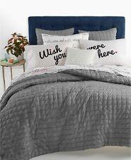 Whim by Martha Stewart 3 Pc FULL/QUEEN Comforter Set Seersucker GRAY A01118