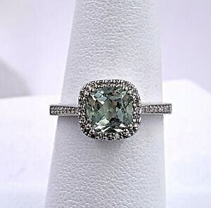 14K White Gold 1.68tcw Ocean Blue Aquamarine And Diamond Ring Size 6.75