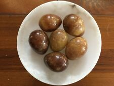 Set of 6 Vintage Large Brown Italian Italy Alabaster Marble Natural Stone Eggs