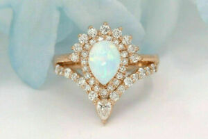 3.50Ct Pear Cut Fire Opal & Diamond Vintage Engagement Ring 14K Rose Gold Finish