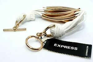 NEW EXPRESS LEATHER ROPE WRAPPED WITH 15 GOLD BARS BRACELET; WHITE & GOLD