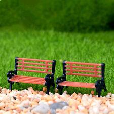 Mini Garden Ornament Miniature Park Seat Bench Craft Fairy Dollhouse Decor