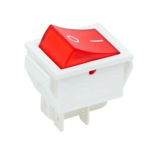White Rocker Switch 16A 240V, 20A 125V RED ON-OFF Double Pole 4 Pin ILLUMINATED