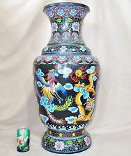 "HUGE 30"" Vintage Chinese Black Cloisonne Vase with PHOENIX Birds & DRAGONS"