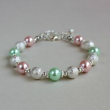 Silver stardust blush pink mint green pearls beaded wedding bridesmaid bracelet