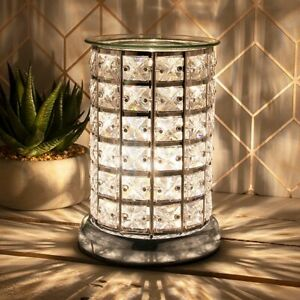 Desire Aroma Silver Electric Touch Lamp Clear Crystal Wax Melt Oil Burner 46008