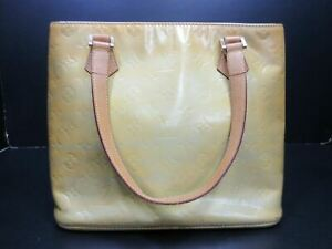 Authentic Louis Vuitton Monogram Vernis Houston M91004 Beige Hand Bag 90072