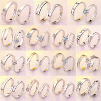 1Pair Silver Plated Couples Lovers Ring Zircon Open Wedding Engagement Ring TK