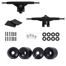 """7"""" Trucks 60X45mm 83A Black Wheels Bearing Screw Riser Pad Skateboard Parts Kit"""