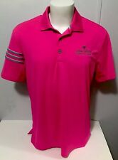Men's L Adidas ClimaCool Neon Pink Three Stripe Polo Golf Shirt Golf Club Logo