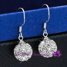 925 Sterling SILVER Clear Magic BALL Hoop Earrings SWAROVSKI CRYSTAL EFS008 Gift