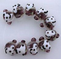 TEN Purple White Black Monkey Bead Beads Handmade Glass Lampwork 2/5 Inch Long