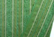 Ikat Cotton Green Hand-Dyed & Hand-Woven Fabric Orissa Artisan Homespun