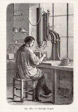 INDUSTRIE IMPRESSION TISSU CLICHAGE GAZ IMAGE 1875 INDUSTRY FABRIC OLD PRINT