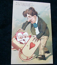 German Postcard Comical Babies Howl Night Day Mom Come Quickly I Pray C 1900