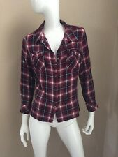 DG2 by Diane Gilman Burgundy Plaid Rayon Flowy Flannel Shirt M NWOT!