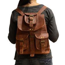 Brauner Echtleder Damen Daypack Vintage Rucksacke Reisetasche kleiner Backpack
