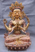 "18"" Tibet bronze Gilt Portray 4 Arms Chenrezig kwan-yin GuanYin buddha statue"