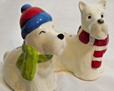 Scottish Dog Salt And Pepper Shaker Set Terrier Christmas Winter