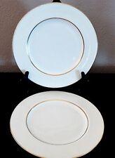 Mikasa Bone China Hunter Dinner Plates x2 White Scroll Design on White Gold Trim