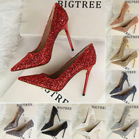 Women Party Shoes Stiletto Pointed-toe High Heels Bling Pumps Wedding Shoes W421
