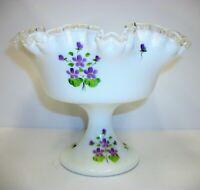 Vintage Fenton Silver Crest Ruffled Pedestal Compote Bowl Violets Artist Signed