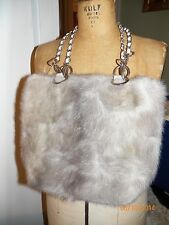 gray mink fur purse handbag tote metal chain straps