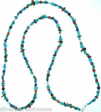 """Genuine Multistone & American Turquoise Beads 925 Sterling Silver 60"""" Necklace"""