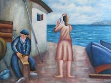 fishing village sea side boats contemporary art large oil painting original